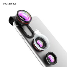 VICTSING Phone Camera Lens Kit Clip-on 3-in-1 12X Macro + 24X Super Macro + Wide Angle Fisheye Lens For iOS Android Cellphones(China)