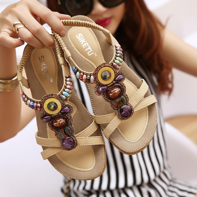 2017 summer shoes plus size 40 41 roman gladiator beads open toe t strap flat sandals bohemian ethnic sport sandals black beige<br><br>Aliexpress