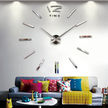 Fashionable Large Size 3D Wall Clock DIY Sticker Vintage Oversize Artistic Needle Circular Clock Home Decoration Decor New(China)