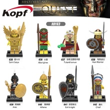 Super Heroes Historic Site Quest Saint Seiya Evil Knight Hun Warrior Aborigines Tutankhamun Ares Building Blocks Kids Toys X0163(China)