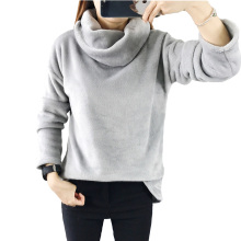 Beautiful Gray Scarf Collar Harajuku Women Hoodies 2017 Winter Solid Color Long Sleeve Sweatshirt Loose Pullover Coat Casual(China)