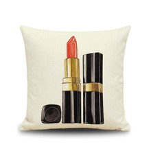 Fashion perfume bottles lipstick cosmetic pattern beige color Cushion cover Home coffee shop hotel seat decoration Pillow case