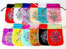 Wholesale 12pcs Chinese Embroidered Beautiful Silk Jewellery Pouch&Coin Purses(China)