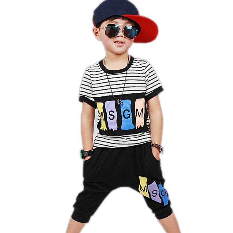 boys clothes summer 2017 new fashion baby boy clothes sets top stripe printed short sleeve t shirt+shorts 2pcs boys tracksuits<br><br>Aliexpress