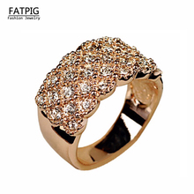 Italy Zircon Luxury Zircon Ring  CZ Anillos de boda para las mujeres de Gold Color Wedding Ring Precious Gift for Women Girl