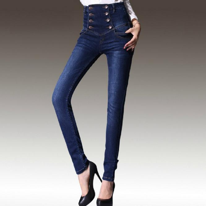 New womens jeans Slim high waist jeans female Double-breasted feet pantsОдежда и ак�е��уары<br><br><br>Aliexpress