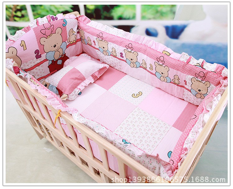 Promotion! 6pcs Pink baby sheet crib bed linen home nursery sets,include (bumpers+sheet+pillow cover)<br><br>Aliexpress