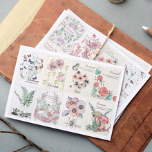 1 Pack Hand-Painted Flower Plants Decorative Stickers Adhesive Stickers DIY Decoration Diary Stickers
