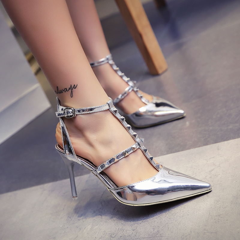 new pointed thin high heels closed toe pumps with rivets buckle T-strap slingback sandals women PU silver elegant fashion shoes<br><br>Aliexpress