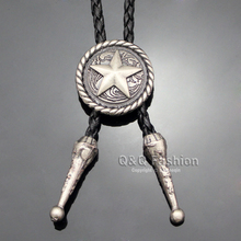 Cowboy Silver Concho Saddle Texas Ranger Star Leather Rodeo Bolo Tie Necktie Jewelry 2017 New Necklace