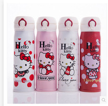 2016 new cartoon hello kitty cat bounce cover insulation Cup ladies double stainless steel straight Vacuum Flasks & Thermoses