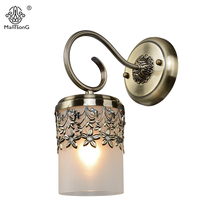 Classical Wall Light LED E27 Bulb Recommend Glass Vintage Bronze Sconce Wall Lamp 1 head Home Decor Lighting Fixture(China)