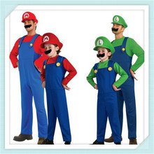 Free Shipping Men Women Funy Cosplay Costume / Super Mario Luigi Brothers Plumber Fancy Dress Up Party Costume/Cute Kids Costume(China)