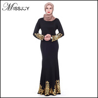 MISSJOY-2018-Fashion-Dubai-turkey-islamic-Style-Long-sleeve-Printed-malaysian-abayas-Women-Party-Black-Long