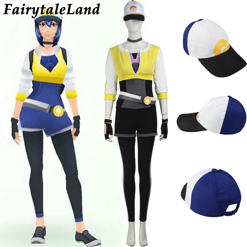 Pokemon GO Costume for adult women Halloween costumes game Pokemon go yellow team  Female Trainer cosplay costume uniform hat