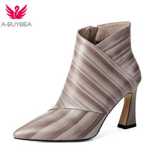 ef4a201ad5d A-BUYBEA 2018 Autumn Winter Fashion Women Real Leather Ankle Boots High  Heels Short Boots Striped Pointed Toe Shoes Size 34-39