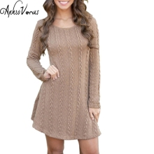 Women Casual Winter Autumn Dress Lady long Sleeve Crewneck Jumper Thin Casual Knitted Sweater Mini Dress Vestidos Mujer 2017New(China)