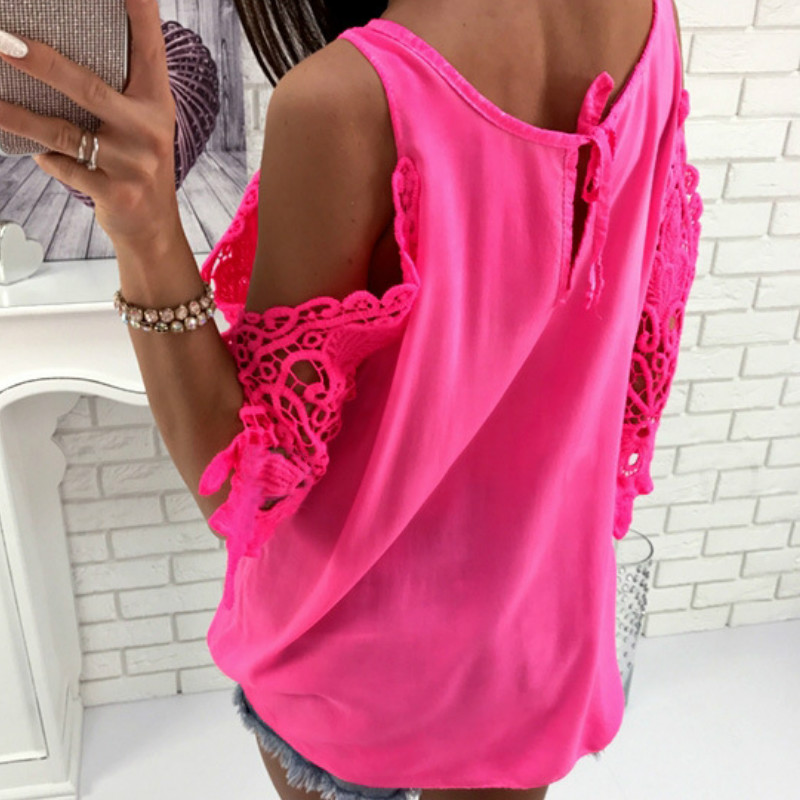 Women Summer Chiffon Blouses 18 New Casual Sexy Sun-top Blusas Half Sleeve Lace Patchwork Shirts Off Shoulder Tops Solid GV381 7
