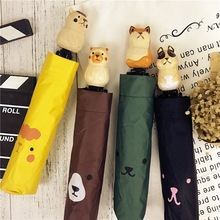Cute Bear/Dog/Fox Windproof Rain and Parasol Folding Women kids Yellow Animal Hand-Carved Wood Umbrella
