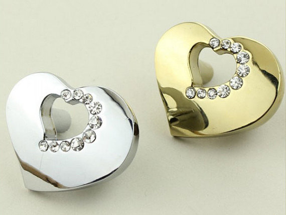 0.6 Heart Glass Dresser Knob Pull Drawer Knobs Pulls Handles Knobs Modern Crystal Kitchen Cabinet Handle Knob Silver Gold<br><br>Aliexpress