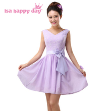 v neck lace up a line light purple beautiful chiffon dress short lilac girl party dresses with lace for wedding guests H3781