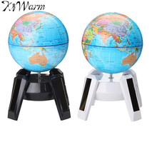 KiWarm 11cm Solar Power World Globe Rotating Swivel Map of Earth Geography Study Home Office Bookcase Desk Decorations Gift(China)