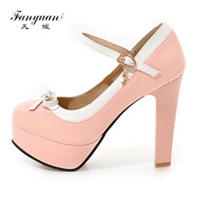 Fanyuan 2017 Spring Sweet Women Pump Super High Thick Square Heel Patent Leather Candy Color Buckle Strap Cute Bow Ladies Shoes(China)