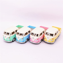 1:34 Kids Toys Juguets  Volkswagen Bus Truck Toy Die cast & ABS 1963 Bus Car Model Doors Openable Cars Models For Boys