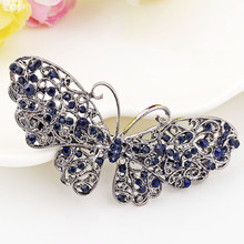 Blue Color Butterfly Hairclip Barrette Crystal Rhinestone Hairpin Headwear Accessories Hair Jewelry For Woman Girls