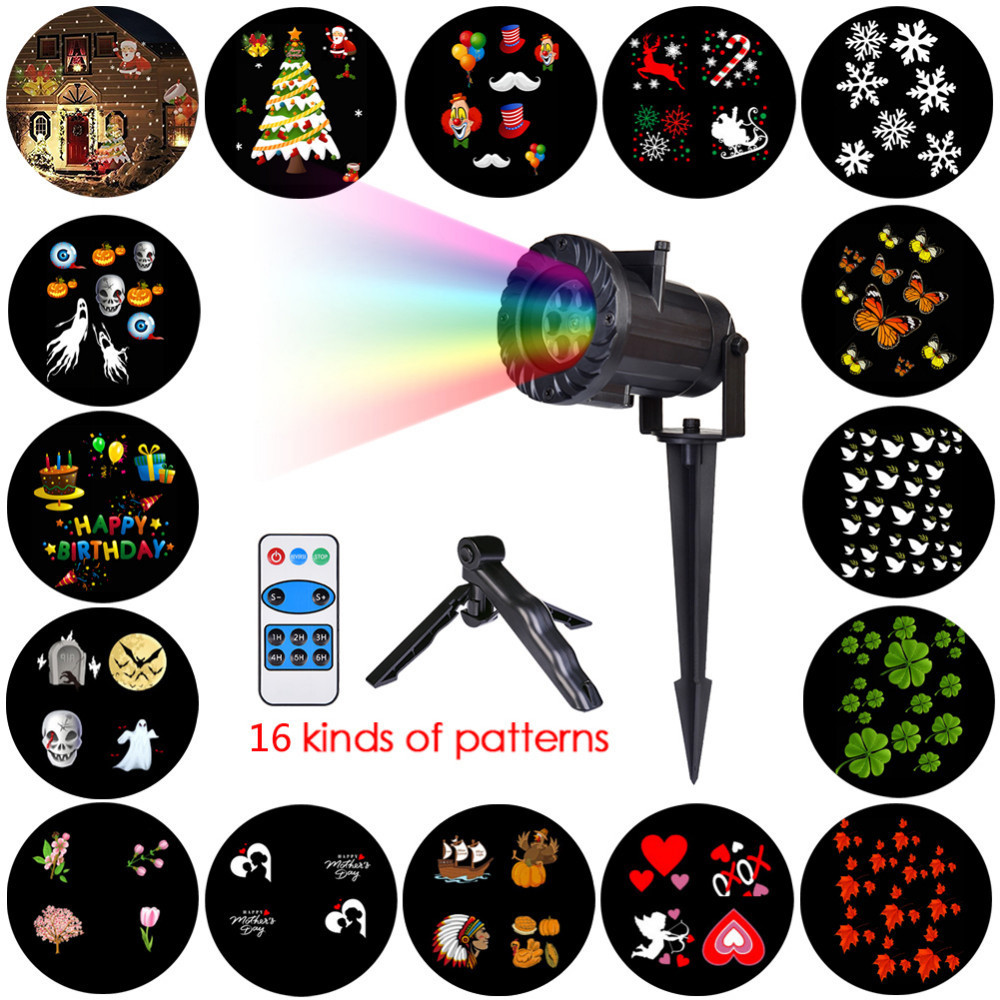 Christmas Lights Waterproof LED Projector 16 Film Cards Laser Fairy Light Projection Family Christmas New Years Decor For Home<br>