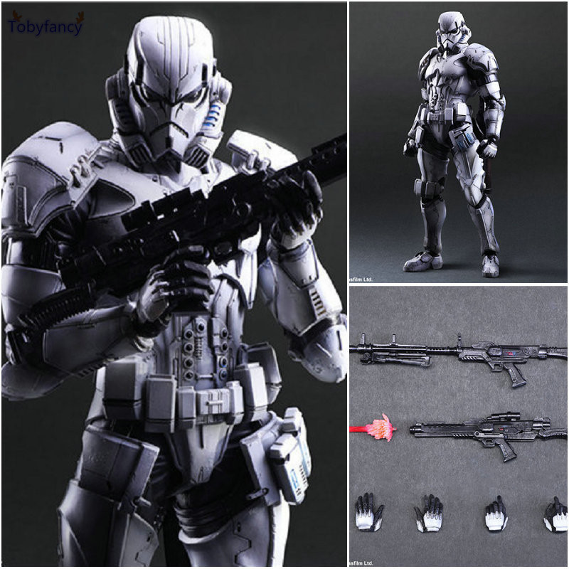 Tobyfancy Star Wars Action Figure Play Arts Kai Imperial Stormtrooper Collection Model Toys PA Kai Soldado<br>
