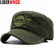 LIBERWOOD Official New Wing Air Force Low Profile Hat Caps Men cotton flat top cap camouflage camo hats embroidered airforce(China)