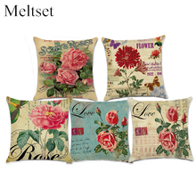 New Vintage Flowers Rose Cotton Linen Cushion Cover Throw Pillow Case Cover Romantic Home Decor Sofa Bedroom Pillowcase(China)