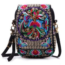 Buy Boho Ethnic Embroidery Bag Vintage National Embroidered Canvas Mobile Phone Small Coins Purse Bags Shoulder Messenger Bags Bolsa for $8.95 in AliExpress store