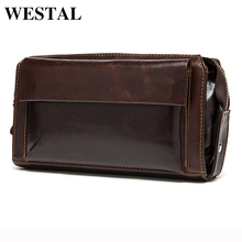 WESTAL Hot Sale Men Wallets Genuine Leather Coin Zipper Pocket Men's Long Wallet  Male Clutch Bags Man Purse Small Hand Bag
