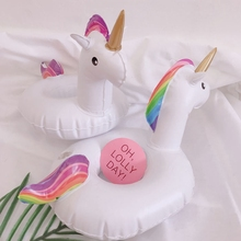 5 Pieces Inflatable Unicorn Floating Cup Holder Pool Drink Holders Swim Ring Water Toys Party Beverage Boats Baby Pool Toys(China)