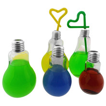 Clear Plastic Summer Bulb Water Bottle Cute Brief Fashion Cute Milk Juice Light Bulbs Cup Leak-proof edion bulb design mug cup
