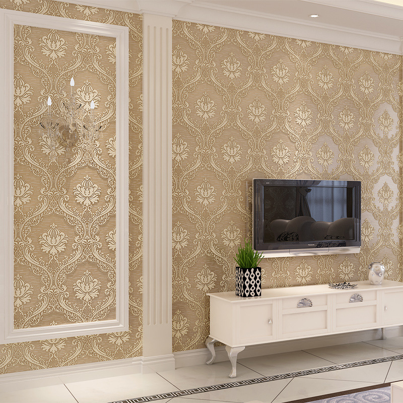 Hot sale Vintage Classic French Modern 3D Damask Feature Wall paper Roll For Living Room Bedroom papel de parede Wallpaper Rolls<br>
