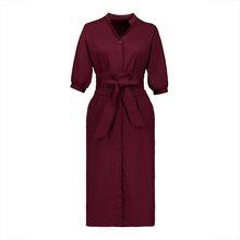 Young17 Fall Dress Women Red Belt Button Single-Breasted Half Sleeve Straight Lace-Up Fashion Day Dress Autumn Casual Dress