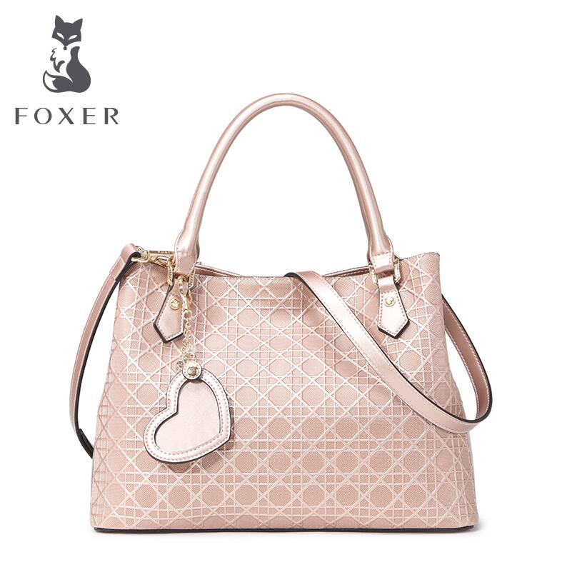 FOXER  new Collection Womens Genuine Leather Top Handle Handbag Satchel Tote Quality leather Killer bag<br><br>Aliexpress