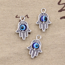 10pcs Charms hamsa hand scrollable devil eye 20*12mm Tibetan Silver Pendant Findings Accessories DIY Vintage Choker Necklace(China)