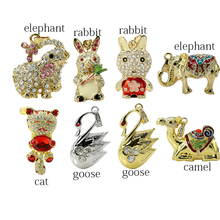 Cartoon goose rabbit 16G 32G USB 2.0 Pen Flash drive Memory Stick Pen Drive Memory cat U Disk Elephant Camel necklace pendrive(China)