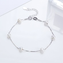 S925 Silver Rhodium Plated Natural Freshwater Pearl Bangles Fashion Reduced Design Bracelet Gift For Women Pulseiras Jewelry