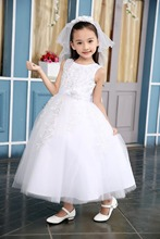 100-150cm  Sleeveless Tutu Beading Dresses Performance Children Big Girls Lace Wedding Dressy Bowknot Dress Kids Princess Dress