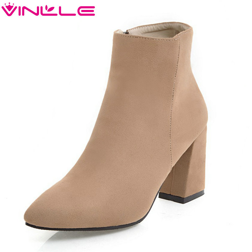 VINLLE 2018 Women Boots Ankle Boots Hoof High Heel Pointed Toe Scrub Zipper Classic Beige Ladies Motorcycle Shoes Size 34-43<br>