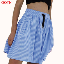 OOTN Winter Autumn Striped Drawstring Skirts Cotton Elastic High Waist Women Blue And White A Line Skirt Empire Club Knee Length(China)