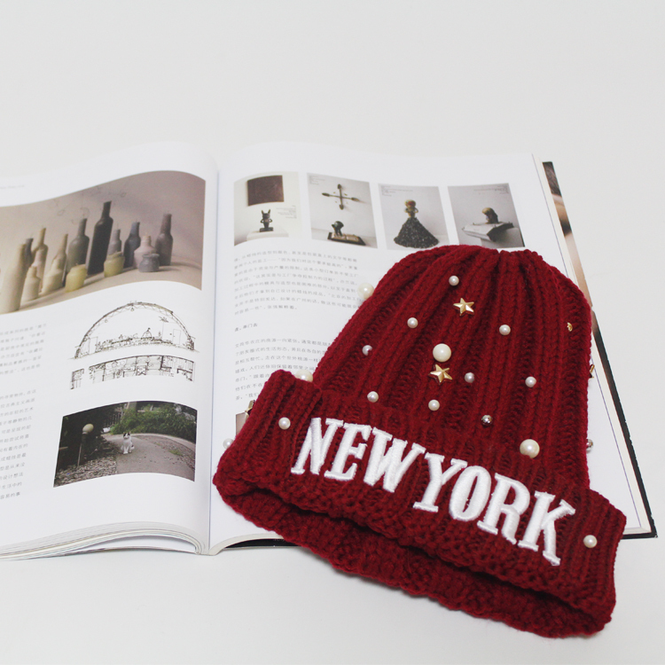 new fashion design newyork Autumn and winter Knitting wool hat 3colour Beanie hat 100% Cotton free size worm girls and womenОдежда и ак�е��уары<br><br><br>Aliexpress