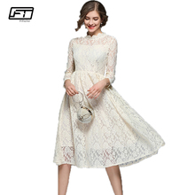 Buy Fitaylor 2018 New Spring Vintage Lace Dress Women Elengant Sexy Evening Party Dresses O Neck Three Quarter Sleeve Mujer Clothing for $22.87 in AliExpress store