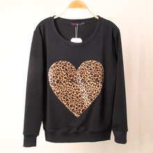Fashion Brand Women Leopard LOVE Heart Printed Sweatshirt Hoody Hoodies tracksuits Pullovers Long Tops Outerwear S/M/L