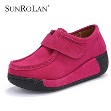 SUNROLAN Summer Women Flat Platform Shoes Fashion Bow Suede Driving Moccasins Slip On Tassel Loafers Women Shape Up Shoes 836